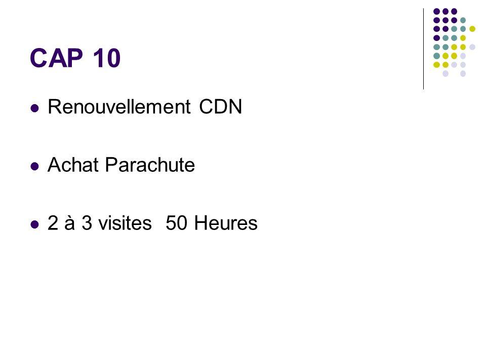 CAP 10 Renouvellement CDN Achat Parachute 2 à 3 visites 50 Heures