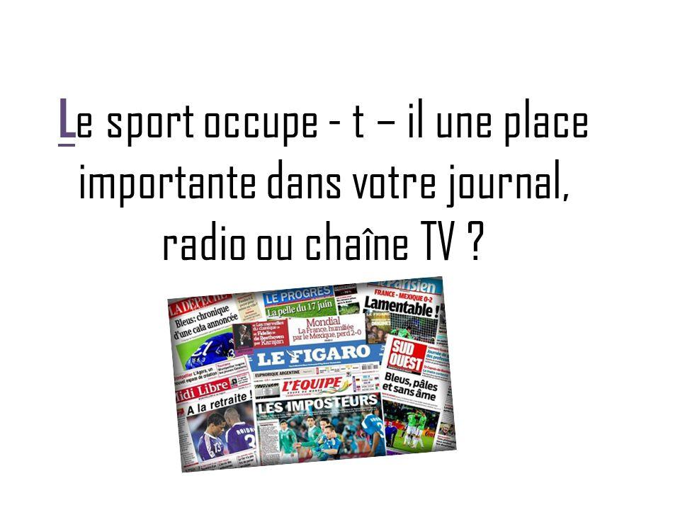 L e sport occupe - t – il une place importante dans votre journal, radio ou chaîne TV ?