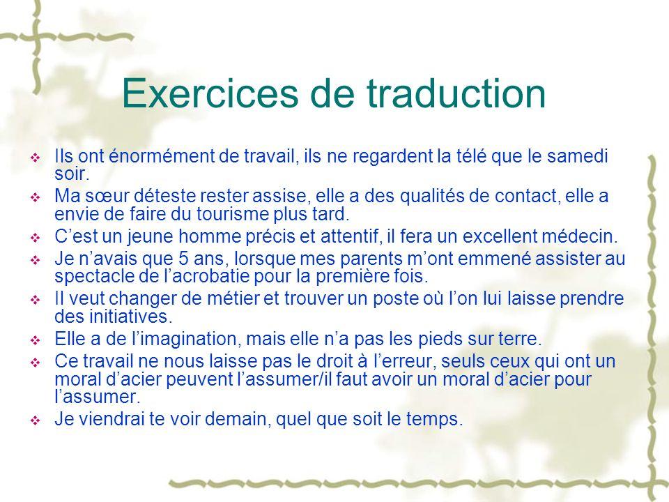 Passé simple Formation Verbe régulier -er: -ai, -as, -a, -âmes, -âtes, -èrent Verbe régulier -ir: -is, -is, -it, -îmes, -îtes, -irent Verbes irréguliers: -is, -is, -it, -îmes, -îtes, -irent -us, -us, -ut, -ûmes, -ûtes, -urent -ins, -ins, -int, -înmes, -întes, -inrent Emploi Souvent dans lécrit Remplace le passé composé Utilisé avec limparfait Une rupture avec le présent Exemples: faire: je fis être: je fus avoir: jeus aller: jallai venir: je vins partir: je partis prendre: je pris vouloir: je voulus pouvoir: je pus apprendre: jappris connaître: je connus attendre: jattendis tenir: je tins