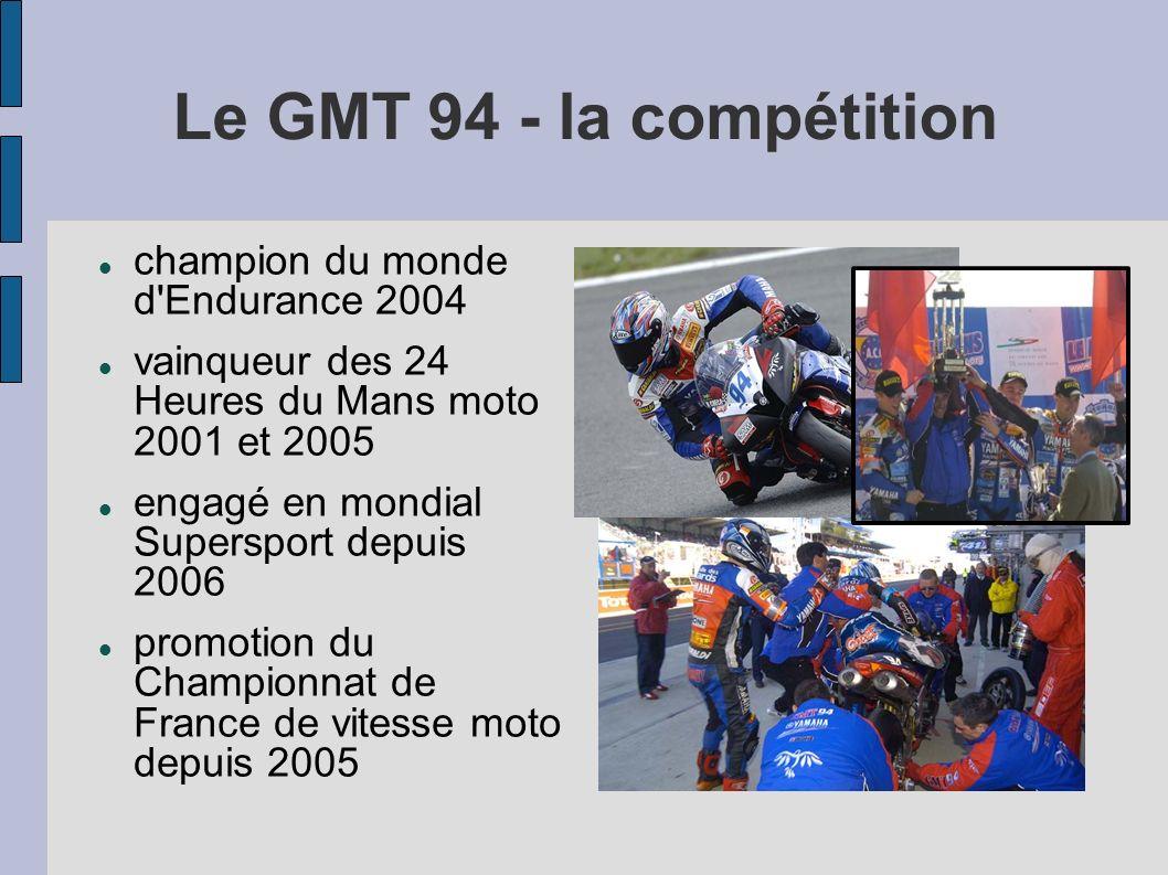 Le GMT 94 - la compétition champion du monde d'Endurance 2004 vainqueur des 24 Heures du Mans moto 2001 et 2005 engagé en mondial Supersport depuis 20