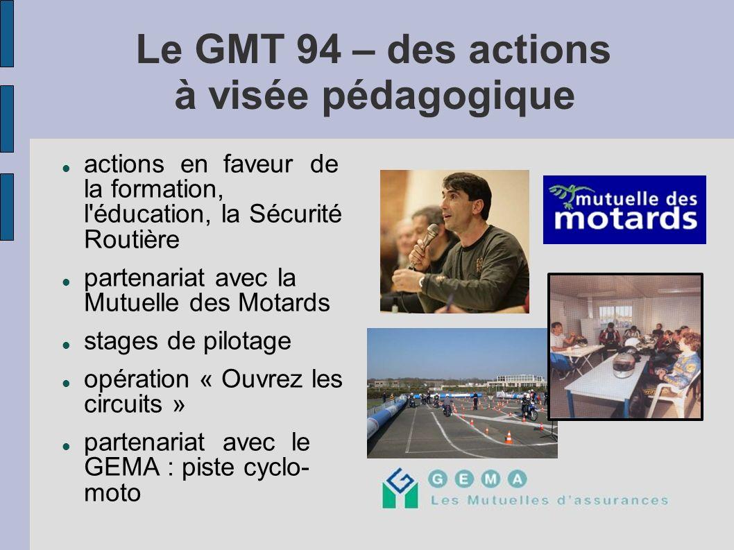 Le GMT 94 – des actions à visée pédagogique actions en faveur de la formation, l'éducation, la Sécurité Routière partenariat avec la Mutuelle des Mota