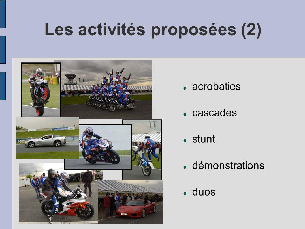 Les activités proposées (2) acrobaties cascades stunt démonstrations duos