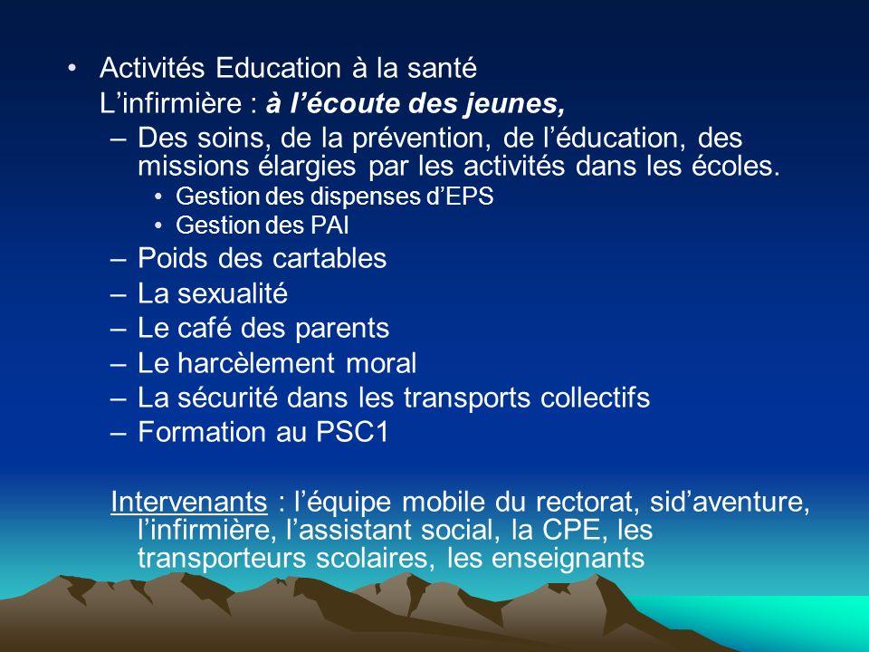 Activités Education à la santé Linfirmière : à lécoute des jeunes, –Des soins, de la prévention, de léducation, des missions élargies par les activités dans les écoles.