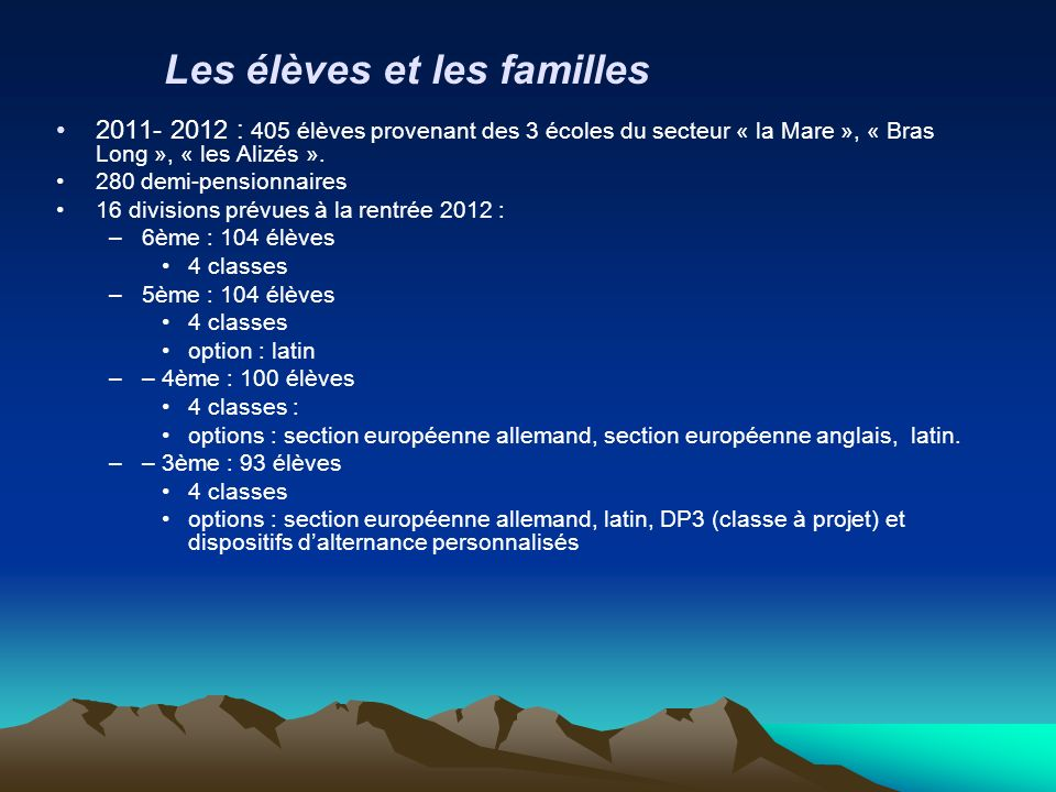 2011- 2012 : 405 élèves provenant des 3 écoles du secteur « la Mare », « Bras Long », « les Alizés ». 280 demi-pensionnaires 16 divisions prévues à la