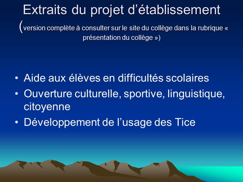Extraits du projet détablissement ( version complète à consulter sur le site du collège dans la rubrique « présentation du collège ») Aide aux élèves