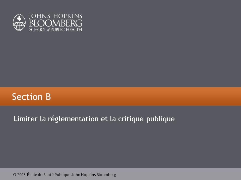 2007 École de Santé Publique John Hopkins Bloomberg Section B Limiter la réglementation et la critique publique