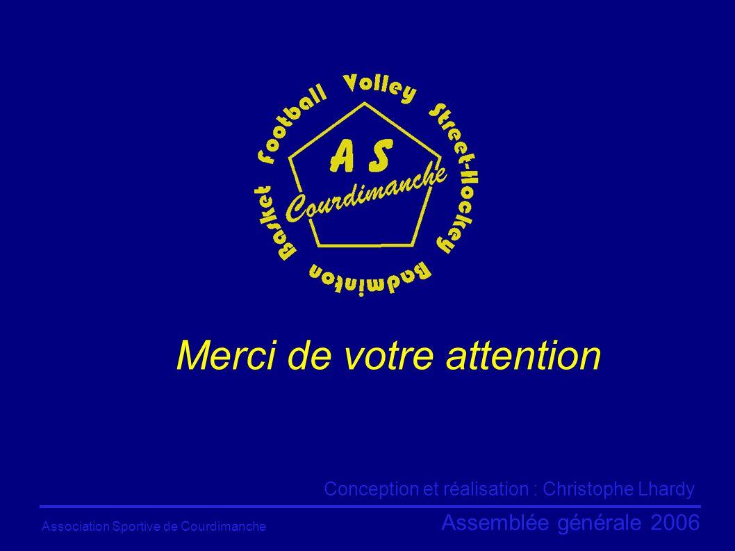 Association Sportive de Courdimanche Assemblée générale 2006 Merci de votre attention Conception et réalisation : Christophe Lhardy