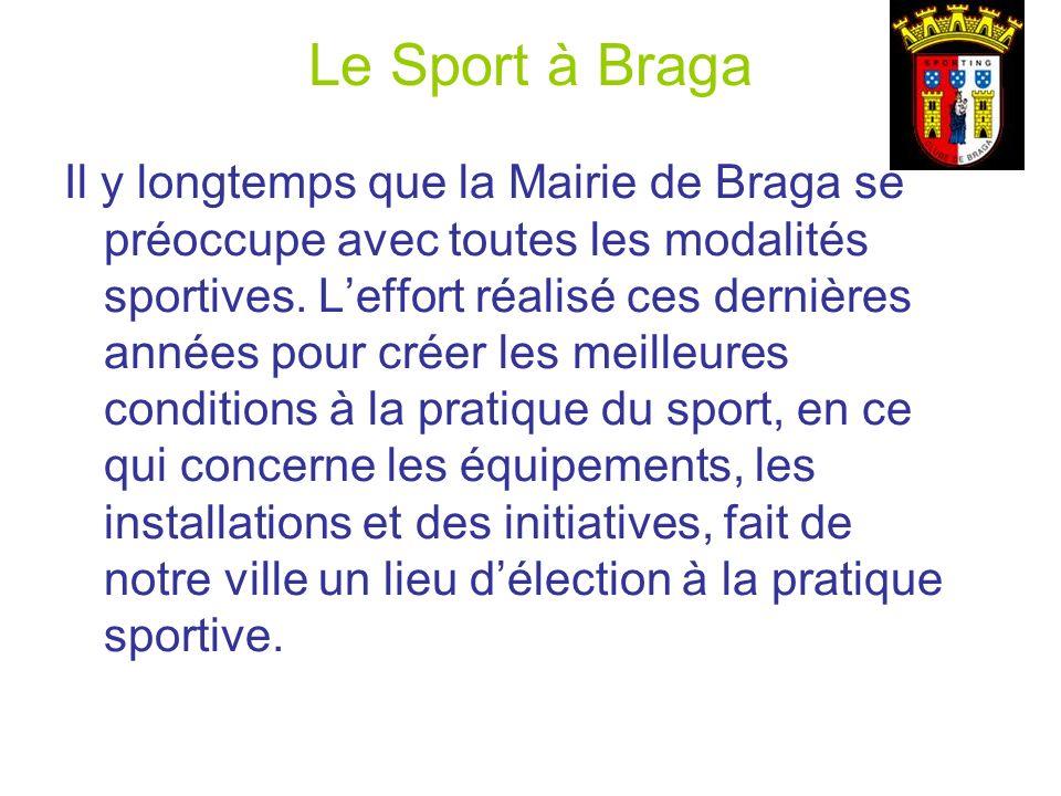 Le Sport à Braga Il y longtemps que la Mairie de Braga se préoccupe avec toutes les modalités sportives. Leffort réalisé ces dernières années pour cré