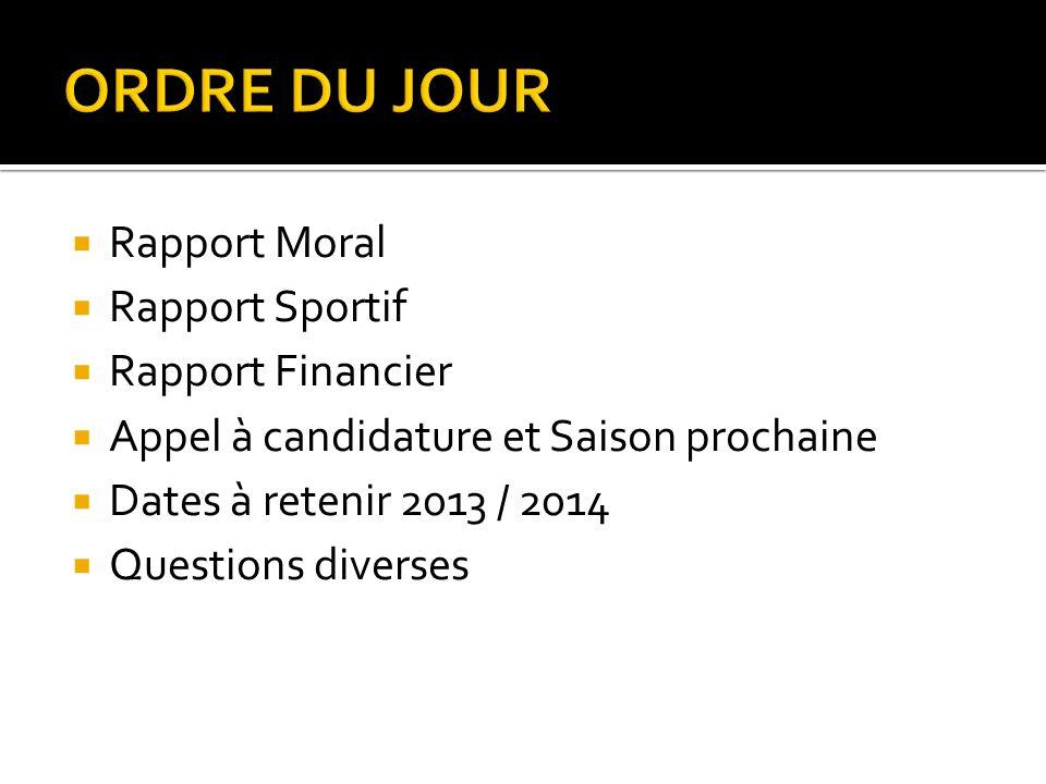 Rapport Moral Rapport Sportif Rapport Financier Appel à candidature et Saison prochaine Dates à retenir 2013 / 2014 Questions diverses