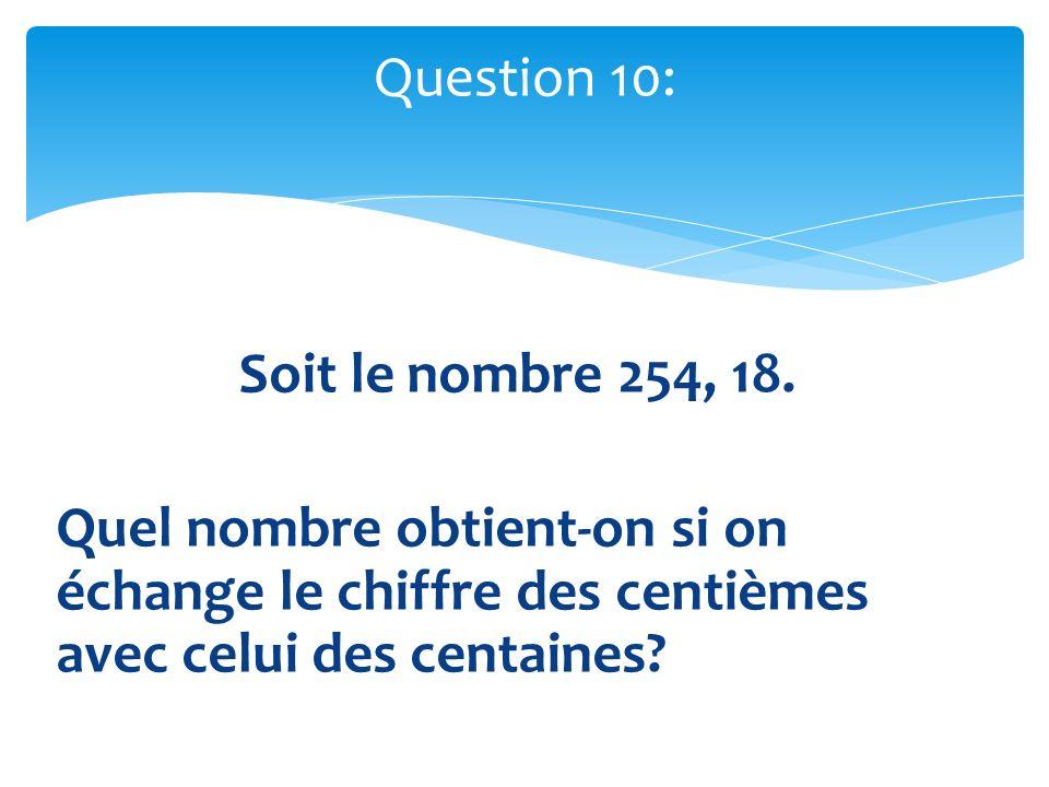 Soit le nombre 254, 18. Quel nombre obtient-on si on échange le chiffre des centièmes avec celui des centaines? Question 10: