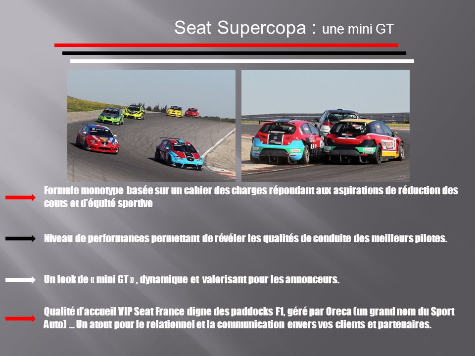 Seat Supercopa : details techniques MOTEUR : - Type 4 Cylindres Turbo / Cylindrée 1984 cc Admission Injection direct Puissance maxi.