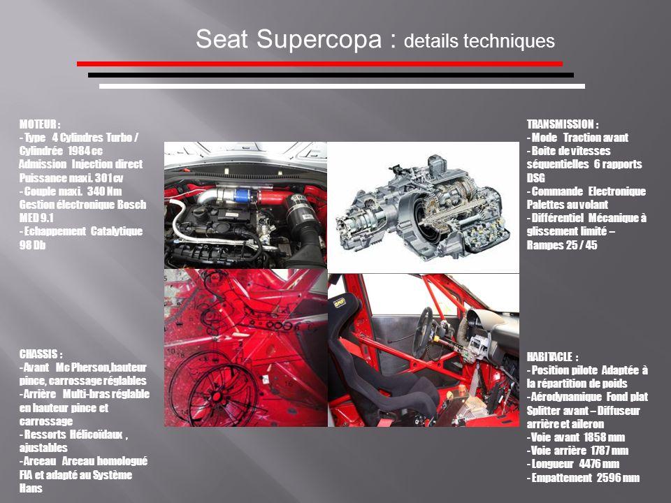 Seat Supercopa : details techniques MOTEUR : - Type 4 Cylindres Turbo / Cylindrée 1984 cc Admission Injection direct Puissance maxi. 301 cv - Couple m