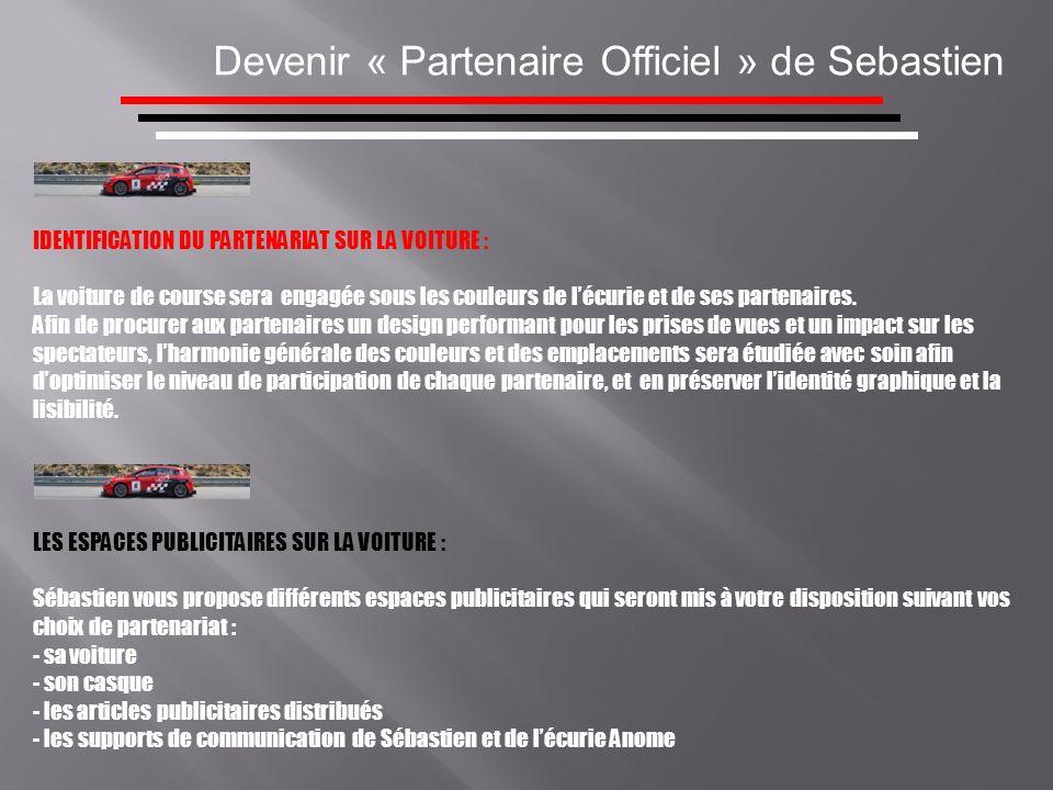 Devenir « Partenaire Officiel » de Sebastien IDENTIFICATION DU PARTENARIAT SUR LA VOITURE : La voiture de course sera engagée sous les couleurs de léc