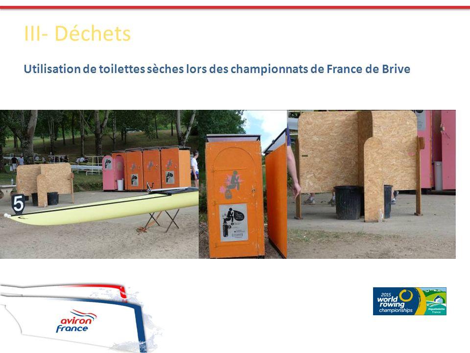 III- Déchets Utilisation de toilettes sèches lors des championnats de France de Brive