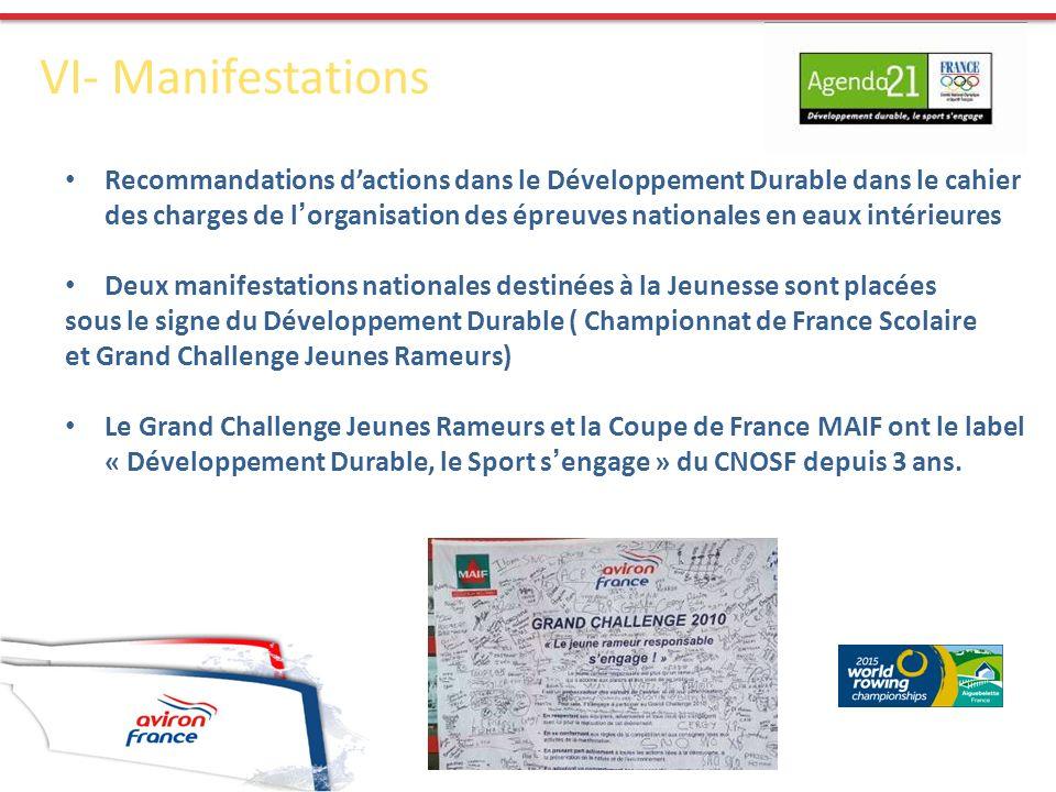 VI- Manifestations Recommandations dactions dans le Développement Durable dans le cahier des charges de l organisation des épreuves nationales en eaux