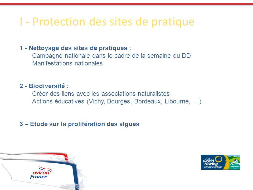 I - Protection des sites de pratique 1 - Nettoyage des sites de pratiques : Campagne nationale dans le cadre de la semaine du DD Manifestations nation