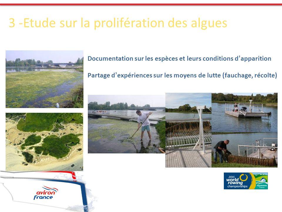 3 -Etude sur la prolifération des algues Documentation sur les espèces et leurs conditions d apparition Partage d expériences sur les moyens de lutte (fauchage, récolte)