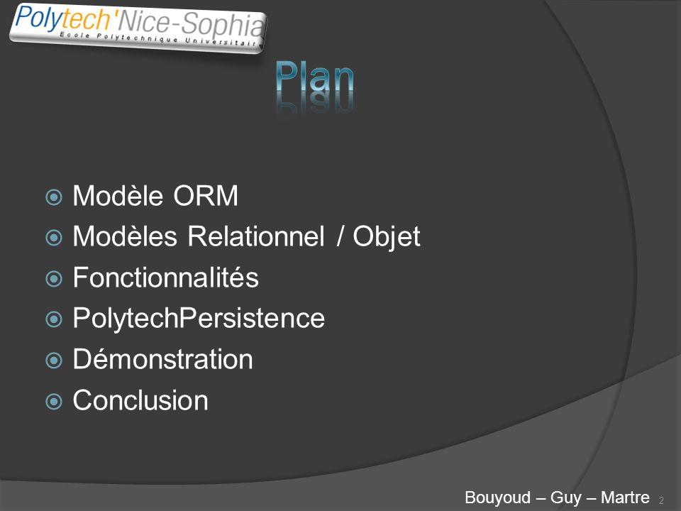 Modèle ORM Modèles Relationnel / Objet Fonctionnalités PolytechPersistence Démonstration Conclusion 2 Bouyoud – Guy – Martre