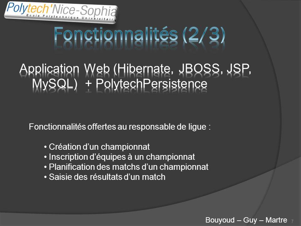 7 Bouyoud – Guy – Martre Fonctionnalités offertes au responsable de ligue : Création dun championnat Inscription déquipes à un championnat Planificati