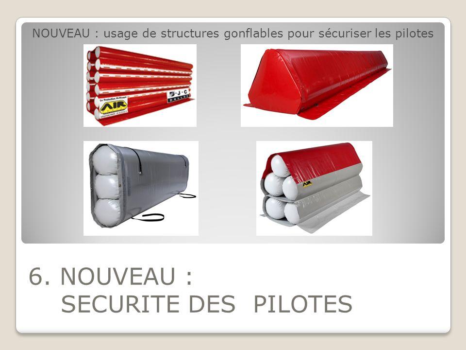 6. NOUVEAU : SECURITE DES PILOTES NOUVEAU : usage de structures gonflables pour sécuriser les pilotes