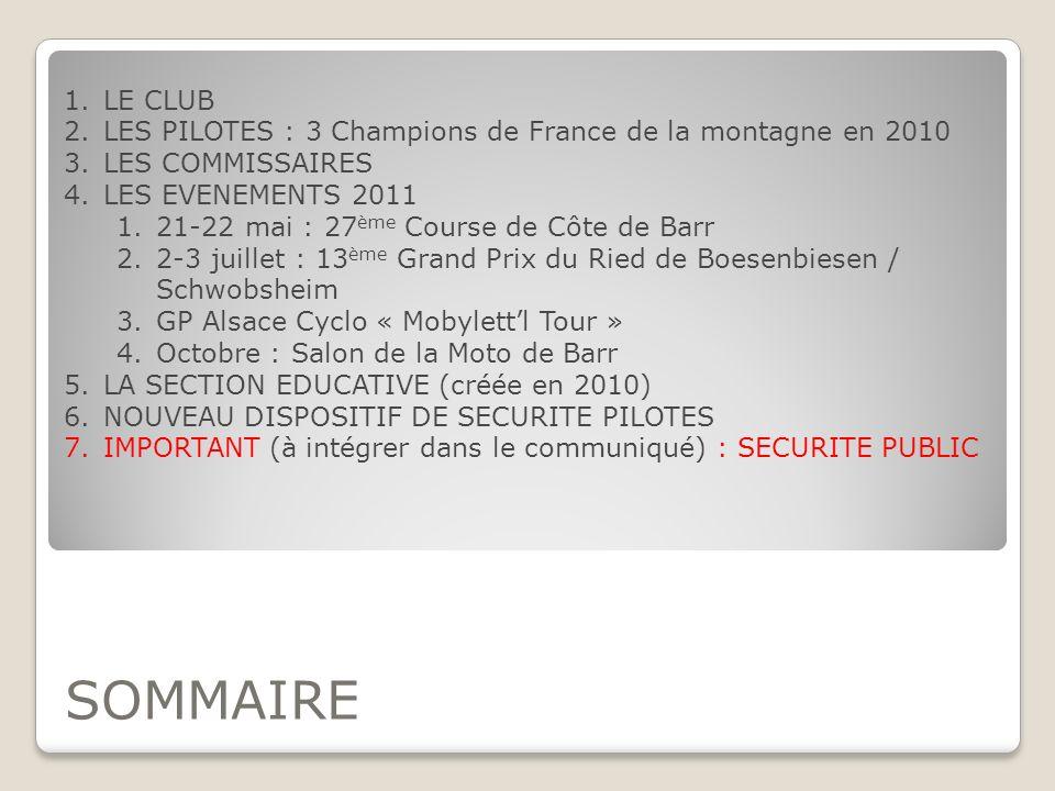 SOMMAIRE 1.LE CLUB 2.LES PILOTES : 3 Champions de France de la montagne en 2010 3.LES COMMISSAIRES 4.LES EVENEMENTS 2011 1.21-22 mai : 27 ème Course d