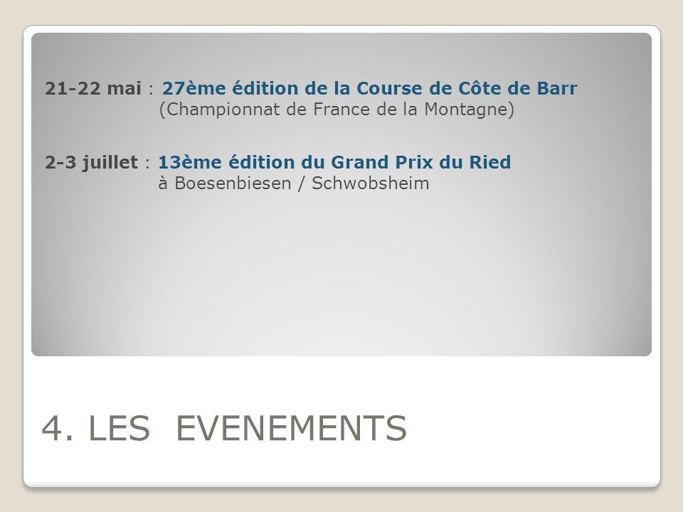 4. LES EVENEMENTS 21-22 mai : 27ème édition de la Course de Côte de Barr (Championnat de France de la Montagne) 2-3 juillet : 13ème édition du Grand P