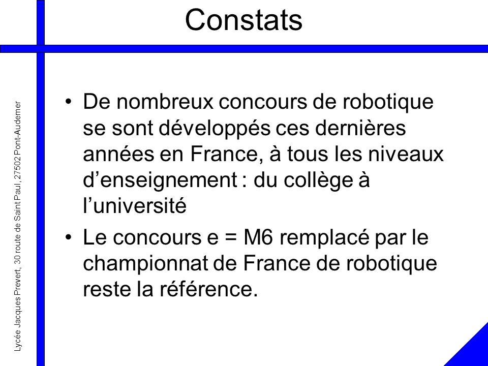 Lycée Jacques Prevert, 30 route de Saint Paul, 27502 Pont-Audemer Constats De nombreux concours de robotique se sont développés ces dernières années en France, à tous les niveaux denseignement : du collège à luniversité Le concours e = M6 remplacé par le championnat de France de robotique reste la référence.