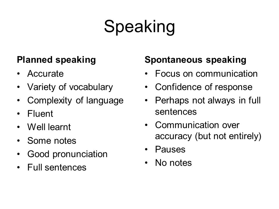 Speaking Planned speaking Accurate Variety of vocabulary Complexity of language Fluent Well learnt Some notes Good pronunciation Full sentences Sponta