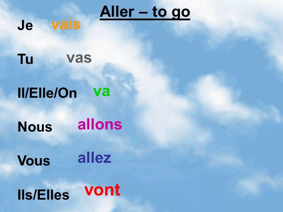 Je Tu Il/Elle/On Nous Vous Ils/Elles vais vas va allons allez vont Aller – to go