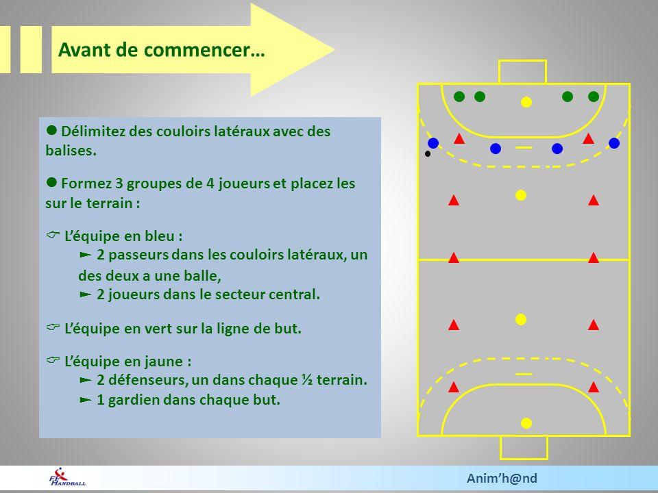 Délimitez des couloirs latéraux avec des balises. Formez 3 groupes de 4 joueurs et placez les sur le terrain : Léquipe en bleu : 2 passeurs dans les c