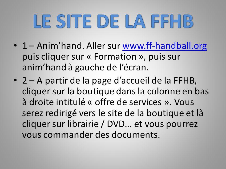1 – Animhand. Aller sur www.ff-handball.org puis cliquer sur « Formation », puis sur animhand à gauche de lécran.www.ff-handball.org 2 – A partir de l