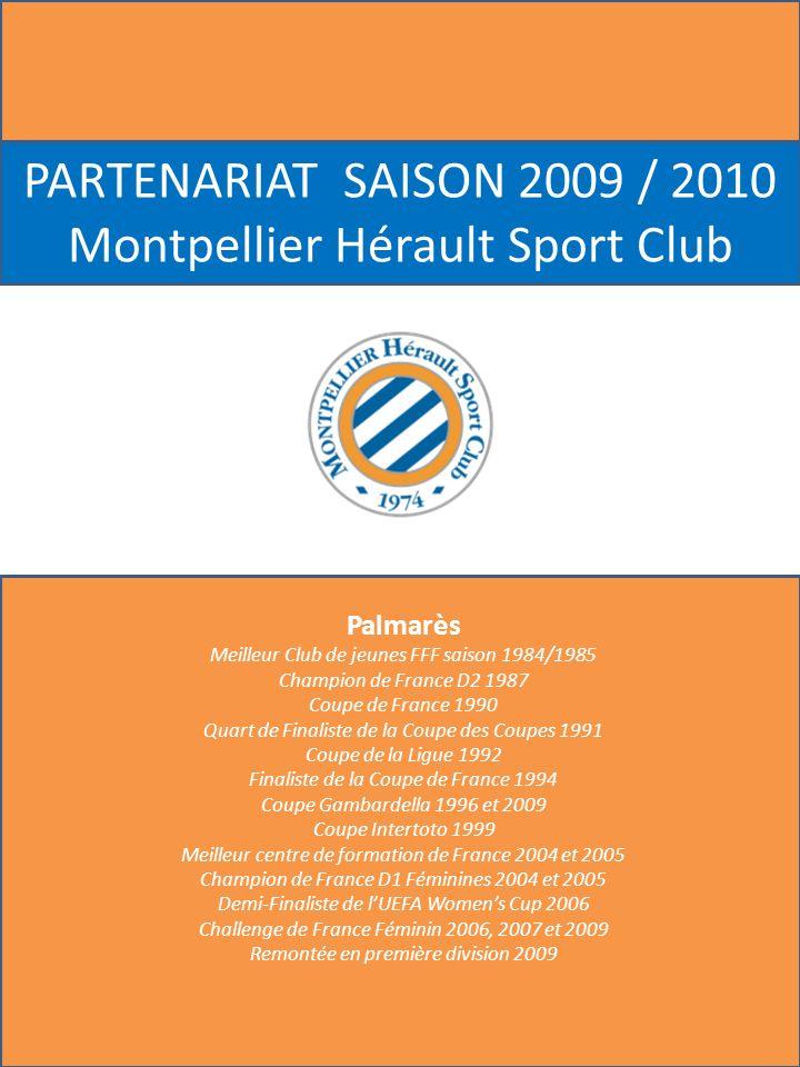 Droits dimage (communication interne et externe / offres promotionnelles) Label « SPONSOR OFFICIEL » du MHSC Le nom du Club MHSC Le sigle et le logo du Club Les représentations collectives des joueurs de lEquipe (5 joueurs minimum) Exclusivité dans votre secteur dactivité SYNTHESE DES DROITS MARKETING Montpellier Hérault Sport Club Visibilité Maillot (Championnat de LIGUE 1) Logo du Sponsor sur la face du maillot portés par les joueurs de lEquipe lors des rencontres officielles à domicile et à lextérieur Visibilité terrain et stade (Championnat de LIGUE 1) 168 m de panneautique rotative 1 Fronton 10 m * 1 m Logos sur les panneaux dinterview Visibilité Club et Média ¼ de page dans le magazine officiel LECHO DE LA MOSSON distribué le soir des matchs à domicile Publicité sur le site Internet www.mhscfoot.comwww.mhscfoot.com 3 publicités de 30 secondes sur lécran géant du Stade Hospitalité et opérations spéciales 5 packages VIP Club Partenaire : détail de la prestation o Accès aux places de parking o Accueil Hôtesses o Cocktail davant-match o Remise de la feuille de match o Remise du magazine officiel o Place VIP en Tribune Centrale o Cocktail mi-temps au Bar à vin o Buffet dînatoire à lissue de la rencontre au Bar à Vin en présence des joueurs 30 places sèches en Tribune « Minervois » BUDGET / AN : 500 000 * OFFRE FIN DE SAISON : 375 000 * *ht et hors frais techniques A compter de la prochaine journée (10 ème ) Stade Rennais – Montpellier Hérault SC (le 24/10/09)