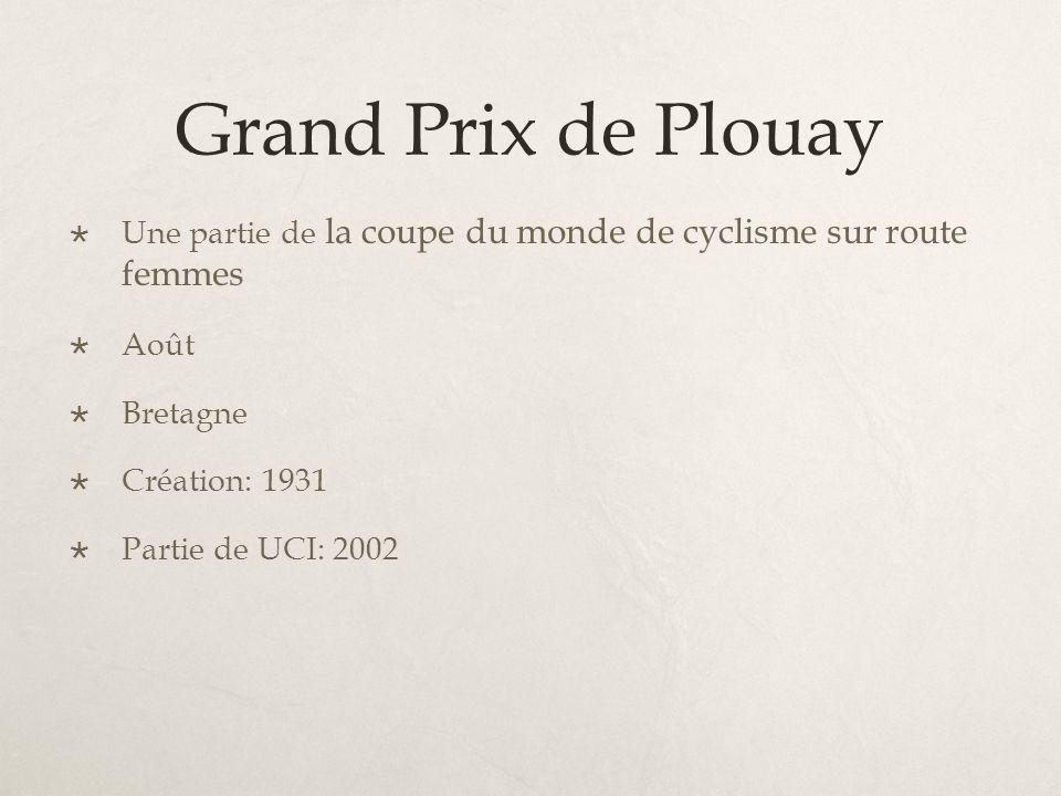 Grand Prix de Plouay Une partie de la coupe du monde de cyclisme sur route femmes Août Bretagne Création: 1931 Partie de UCI: 2002