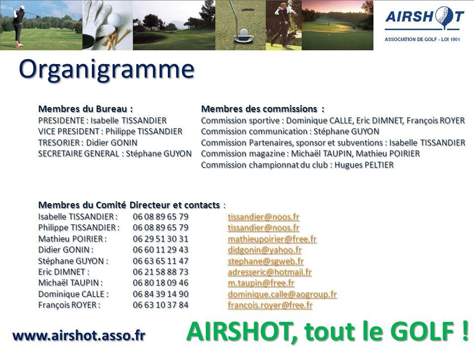 www.airshot.asso.fr AIRSHOT, tout le GOLF ! Organigramme Organigramme Membres du Bureau : PRESIDENTE : Isabelle TISSANDIER VICE PRESIDENT : Philippe T