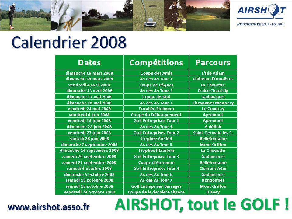 www.airshot.asso.fr AIRSHOT, tout le GOLF ! Calendrier 2008