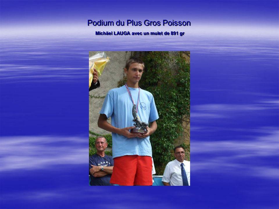 Podium du Plus Gros Poisson Michäel LAUGA avec un mulet de 891 gr