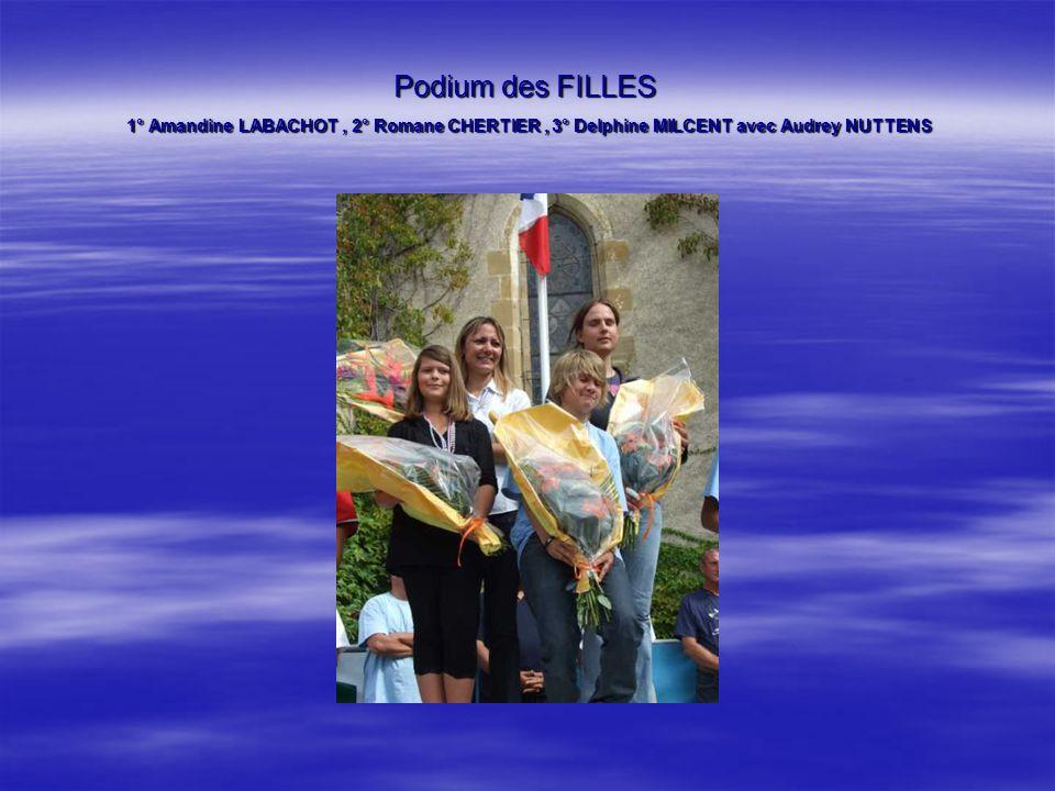 Podium des FILLES 1° Amandine LABACHOT, 2° Romane CHERTIER, 3° Delphine MILCENT avec Audrey NUTTENS