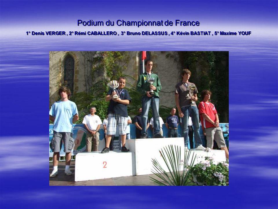 Podium du Championnat de France 1° Denis VERGER, 2° Rémi CABALLERO, 3° Bruno DELASSUS, 4° Kévin BASTIAT, 5° Maxime YOUF