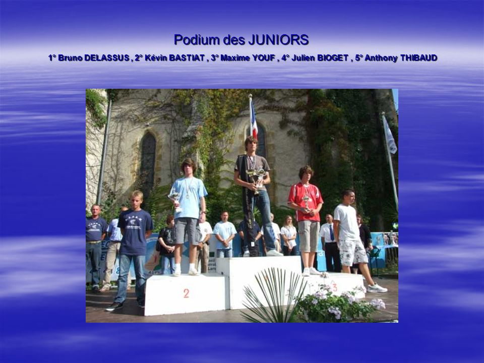 Podium des CADETS 1° Denis VERGER, 2° Johan YOUF, 3° Dylan FONTAINE, 4° Amandine LABACHOT, 5° Tiphaine LEVESQUES