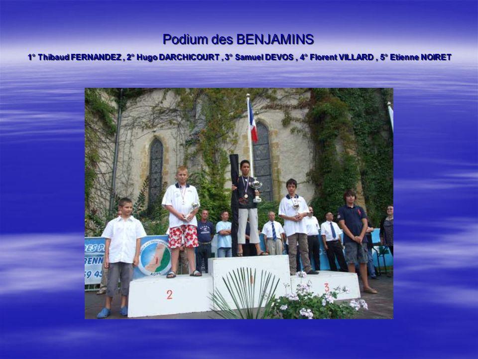 Podium des BENJAMINS 1° Thibaud FERNANDEZ, 2° Hugo DARCHICOURT, 3° Samuel DEVOS, 4° Florent VILLARD, 5° Etienne NOIRET