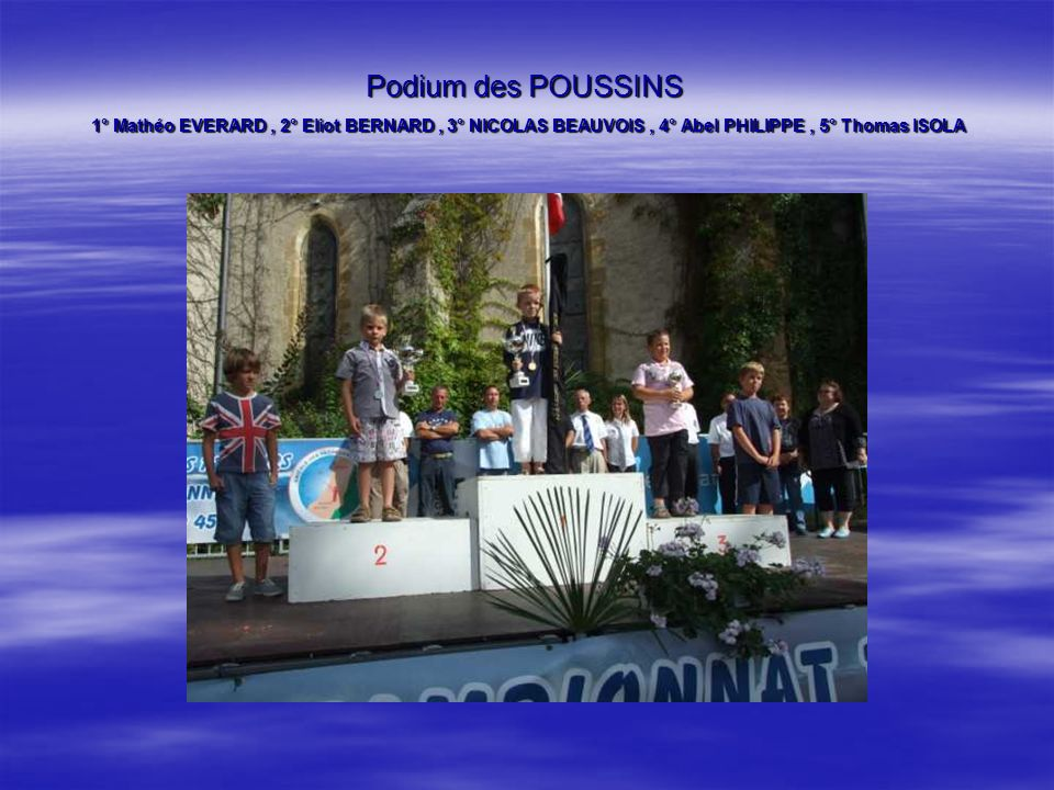 Podium des POUSSINS 1° Mathéo EVERARD, 2° Eliot BERNARD, 3° NICOLAS BEAUVOIS, 4° Abel PHILIPPE, 5° Thomas ISOLA