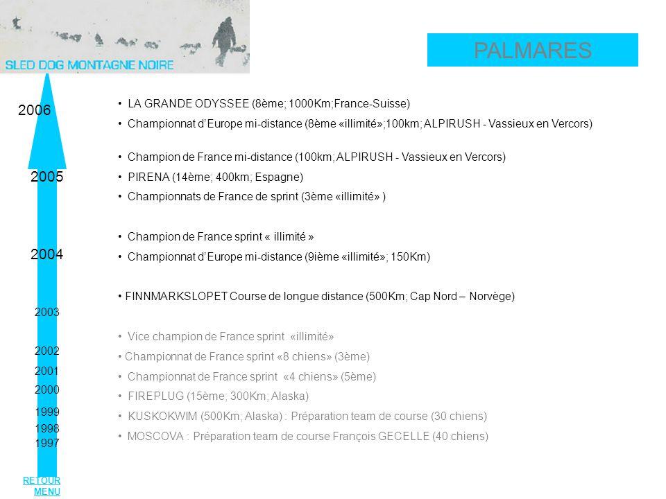 LA GRANDE ODYSSEE (8ème; 1000Km;France-Suisse) Championnat dEurope mi-distance (8ème «illimité»;100km; ALPIRUSH - Vassieux en Vercors) Champion de France mi-distance (100km; ALPIRUSH - Vassieux en Vercors) PIRENA (14ème; 400km; Espagne) Championnats de France de sprint (3ème «illimité» ) Champion de France sprint « illimité » Championnat dEurope mi-distance (9ième «illimité»; 150Km) FINNMARKSLOPET Course de longue distance (500Km; Cap Nord – Norvège) Vice champion de France sprint «illimité» Championnat de France sprint «8 chiens» (3ème) Championnat de France sprint «4 chiens» (5ème) FIREPLUG (15ème; 300Km; Alaska) KUSKOKWIM (500Km; Alaska) : Préparation team de course (30 chiens) MOSCOVA : Préparation team de course François GECELLE (40 chiens) 2006 2005 2004 2003 2002 2001 2000 1999 1998 1997 PALMARES RETOUR MENU
