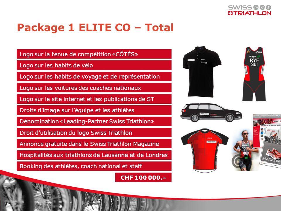 Package 1 ELITE CO – Total Logo sur les habits de vélo Logo sur les habits de voyage et de représentation Logo sur les voitures des coaches nationaux