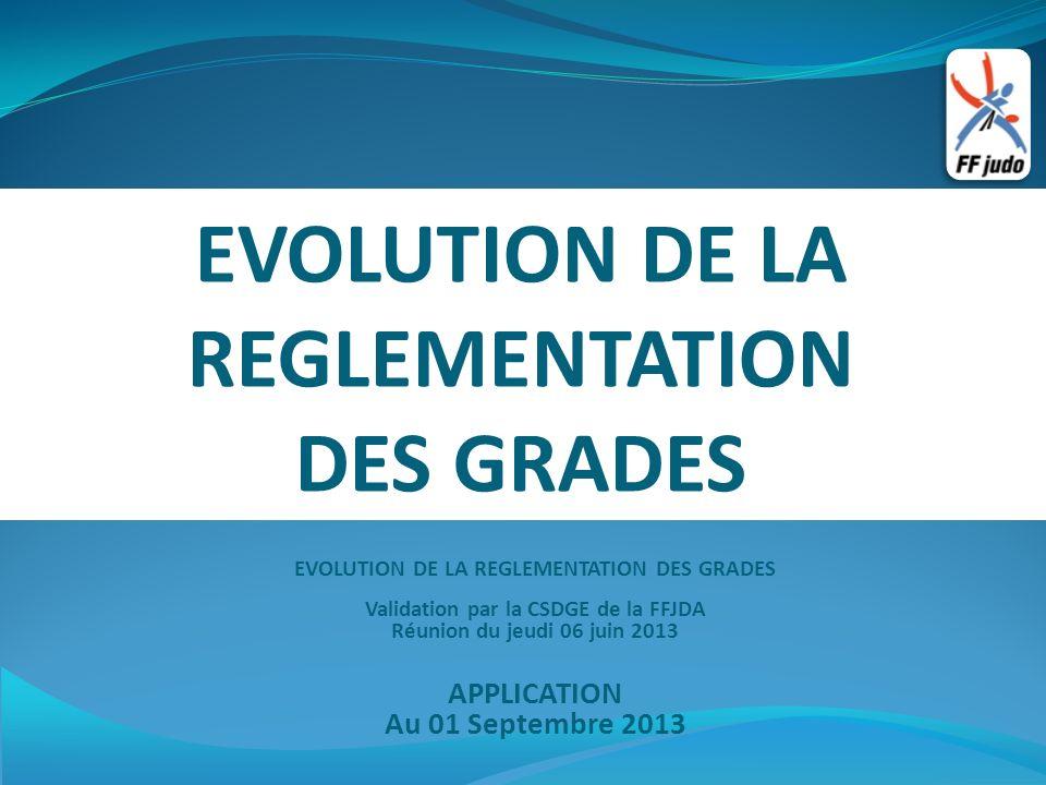 EVOLUTION DE LA REGLEMENTATION DES GRADES EVOLUTION DE LA REGLEMENTATION DES GRADES Validation par la CSDGE de la FFJDA Réunion du jeudi 06 juin 2013