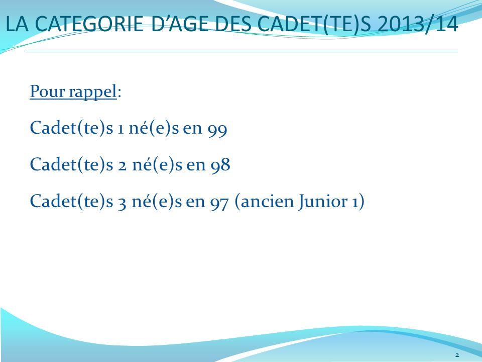 LA CATEGORIE DAGE DES CADET(TE)S 2013/14 2 Pour rappel: Cadet(te)s 1 né(e)s en 99 Cadet(te)s 2 né(e)s en 98 Cadet(te)s 3 né(e)s en 97 (ancien Junior 1