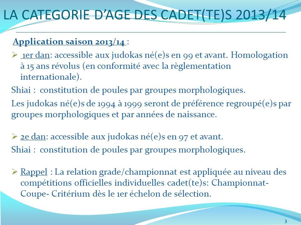 LA CATEGORIE DAGE DES CADET(TE)S 2013/14 3 Application saison 2013/14 : 1er dan: accessible aux judokas né(e)s en 99 et avant. Homologation à 15 ans r