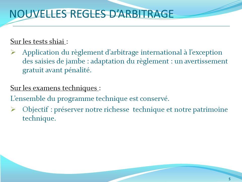 NOUVELLES REGLES DARBITRAGE Sur les tests shiai : Application du règlement darbitrage international à lexception des saisies de jambe : adaptation du règlement : un avertissement gratuit avant pénalité.