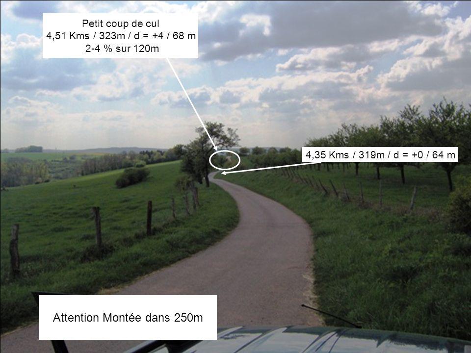 4,35 Kms / 319m / d = +0 / 64 m Petit coup de cul 4,51 Kms / 323m / d = +4 / 68 m 2-4 % sur 120m Attention Montée dans 250m