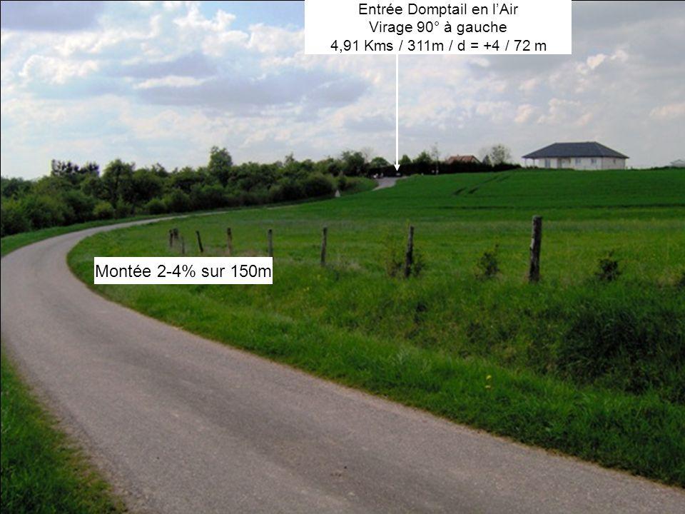 Montée 2-4% sur 150m Entrée Domptail en lAir Virage 90° à gauche 4,91 Kms / 311m / d = +4 / 72 m