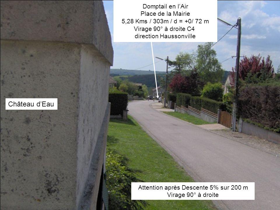Attention après Descente 5% sur 200 m Virage 90° à droite Domptail en lAir Place de la Mairie 5,28 Kms / 303m / d = +0/ 72 m Virage 90° à droite C4 direction Haussonville Château dEau